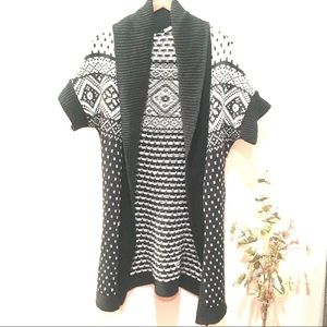 Promod Long Chunky Knit Nordic Cardigan Sweater